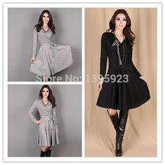 Plus Size M L XL 2015 New Arrival Spring Autumn Womens Slim One piece Dress Elegant Long Sleeve Dresses with Belt -in Dresses from Women's Clothing & Accessories on Aliexpress.com | Alibaba Group