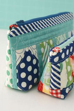Rainy Day sewing bags - I just love the bright color combinations