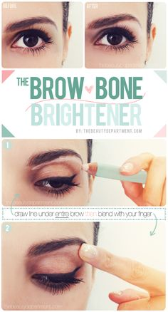 Create the subtle illusion of a brow lift by lining under the ENTIRE brow (not just the outer corner!) and choosing a matte light pink pencil instead of a shimmery white shadow!