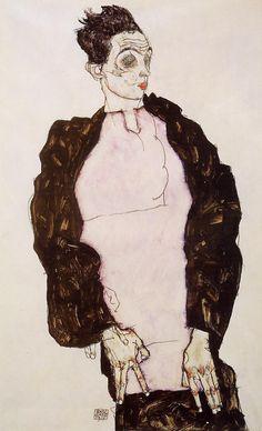 Egon Schiele, Self Portrait in Lavender and Dark Suit, Standing, 1914