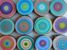 Wall Art 12 Tree Rings Handpainted Colorful Abstract Paintings See Close Ups
