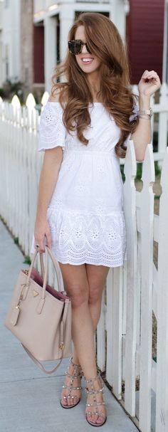 #spring #fashion White Off Shoulder Dress & Beige Leather Tote Bag