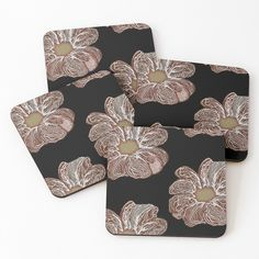 'Contour Flower Design' Coasters by iouryRB