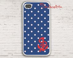 Anchor iphone 4 Case , phone 4s case,  Nautical Navy dot With Anchor, Hard Case for iPhone 4 Case, iPhone 4s Case