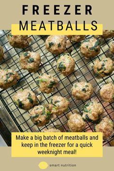 Having these freezer meatballs on hand mean you can quickly and easily prepare a meal in under 15 minutes! 5 Sauce options included in recipe. | easy meatball recipe | beef recipes | ground beef recipes | meal prep | freezer meals | easy freezer meals | homemade meatballs | baked meatballs | easy meatballs #meatballs Easy Freezer Meals, Quick Weeknight Meals, Healthy Dinner Recipes, Breakfast Recipes, Delicious Recipes, Easy Recipes, Beef Meatball Recipe, Best Meal Prep, Smart Nutrition
