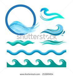 Set of blue ocean waves. Vector logo elements. Sea water icons. - stock vector