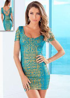 Turquoise Multi (TQMU) Hold U In Gold Foil Prin