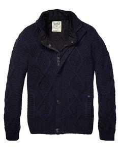 Cardigan With Nylon Diamond Quilted Inner Vest > Mannenkleding > Blazers bij Scotch & Soda