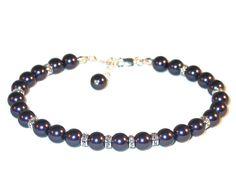 Deep DARK PURPLE Pearl Bracelet Sterling by CharminglyYoursToo