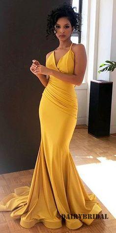fc6cddf0162 Sheath Mermaid Spaghetti Straps Backless Pleated Prom Dresses