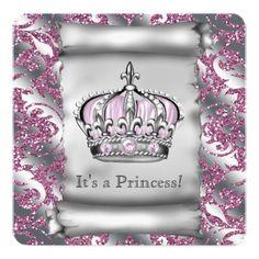 Regal Royal Pink Princess Baby Shower Invites