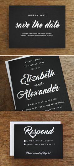 Black and white printable wedding invitation set with retro flair.