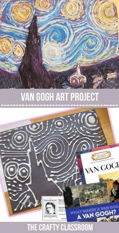 Van Gogh art project idea | Art History Lessons | A step-by-step tutorial on how to create Starry Night using glue and oil pastels.