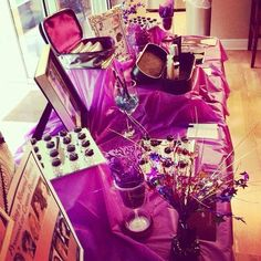 My Younique home party table set up. www.younique-shine.com