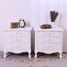 Pair of White Three Drawer Nightstands $595.00 #thebellacottage #shabbychic #OOAK