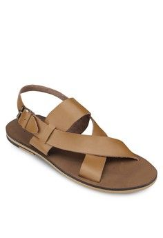 Cross Strap Leather Buckled Sandals from ZALORA in brown_1