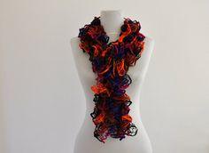 ruffled scarf in orange and black | Scarf Ruffled Scarf Cowl Neckwarmer Hand Knit Orange Black Purple ...
