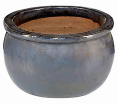 Keramik-Pflanztopf Bavaria, anthrazit glasiert, rund