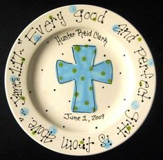 Baptism Plate - Hand Painted Baby Plate with Cross - Great Baptism Gift
