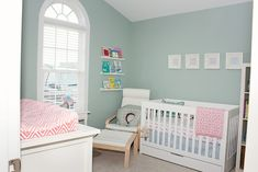 Julie,  This paint color looks a lot like the color I have in my room.  It's called Misted Green (Benjamin Moore)    Love these colors! Would have never thought to use the grey/ blue for a girl but it makes the pink do-able.