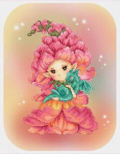 Cross stitch Chart Pattern Flower Sprites - Snapdragon Sprite - Mitzi Sato-Wiuff  *In my Stash