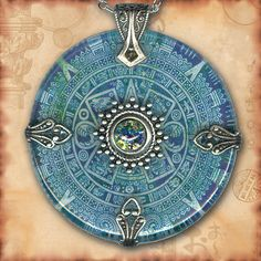 Teal Aztec Mayan Calendar Necklace  Reversible Glass by tzaddishop, $43.00