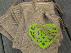Set of 25 Apple Green / Chartreuse Felt Heart by PrinceSnowFarm, $30.00    Rustic wedding
