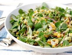 Purslane Salad with Grilled Corn, Red Onion, and a Creamy Avocado Dressing