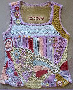 freeform crochet top - so cute! Crochet Woman, Love Crochet, Irish Crochet, Beautiful Crochet, Crochet Tank Tops, Crochet Shirt, Crochet Jacket, Crochet Designs, Crochet Patterns