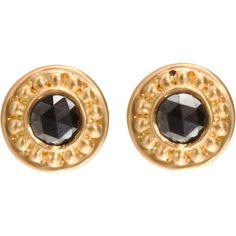 Jamie Wolf Black Diamond Stud Earrings ($1,400) found on Polyvore