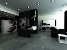 Hair salon_black & white by Ioanna Alexi, via Behance