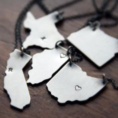 These are so cool.Each state charm u collect represents a loved one u have that lives there.U engrave their first   letter initial in the area closest to their city.I want them for my siblings- KY, CA, SC & IL