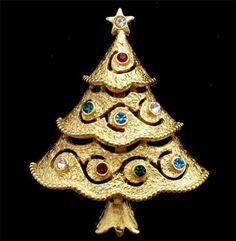 Vintage JJ Christmas Tree Pin Signed Brooch Multi Colored Red Green Rhinestone   eBay