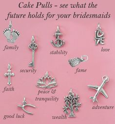 Bring a southern tradition to your wedding or your bridal shower or bridal tea. Pulls are a great way to include your bridal party in the fun. Charms are not baked inside the cake, they are hidden bet Bridal Shower Luncheon, Bridal Showers, Camo Wedding, Wedding Ring, Wedding Cakes, Wedding Gifts, Bridesmaid Luncheon, Silver Cake, Traditional Wedding Cake