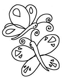 simple shapes coloring pages butterflys - Colouring Worksheets For Kindergarten
