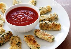 Skinny Baked Mozzarella Sticks. Made these last night and they were great! I had to double bread some of them, and its a bit messy to make, but they cook up really fast. Make sure to watch them after you turn because they start to melt fast. Taste just like mozzarella sticks!