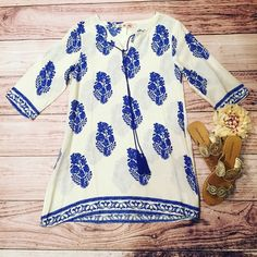 Blue Feather Tunic Dress This can be worn as a tunic, dress, swimsuit cover, etc! Available in small & medium!! Gold sandals for sale in another listing. Dresses Midi