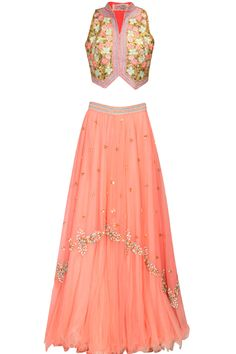 Peach and gold floral beads and sequins embroidered lehenga set available only at Pernia's Pop Up Shop.