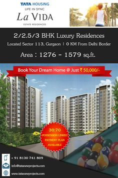 Tata Housing Presents Tata Lavida - turning your dreams to live in a green & healthy environment into reality. It's A 12 acres residential development with more than 1000 trees offers 2 BHK & 3 BHK world class estate residences starting from Rs. 1.08 cr. onwards.