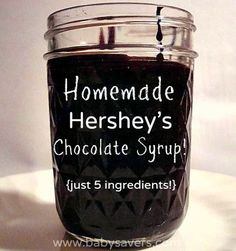 How to make homemade Hersheys chocolate syrup with just 5 ingredients: cocoa, water, sugar, vanilla and salt. No high fructose corn syrup, diglycerides, polysorbate 60, artificial flavors...