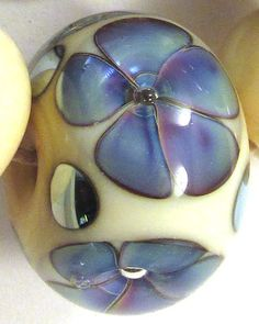 EDJ White Sand Violets Handmade Glass Lampwork Beads USA SRA Artist Eric Larson   eBay