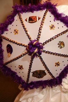 My lovely LSU second line umbrella that Erin made for me!