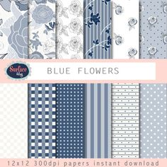 Digital Paper BLUE SKY FLOWER stars stripes in by SurfaceHug, $4.80