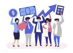 Business people holding financial growth concept illustration | free image by rawpixel.com