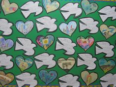 Grade Remembrance Day On the dove, it says: Peace is. And then they illustrated one of their 'Peace is.' comments on the hearts. Peace Crafts, Remembrance Day Activities, World Peace Day, Harmony Day, International Day Of Peace, Peace Art, Anzac Day, Different Holidays, Kindergarten Writing