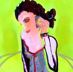 Girl and Phone  Oil on Board  68cm x 68cm  2004-5