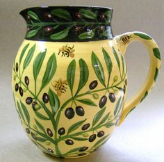 Olive pitcher, old pattern painted by artist Geoff Graham of CInnabar Ceramics in Vallejo, California.