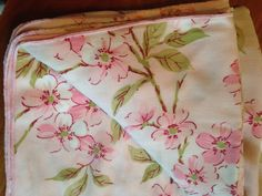 Marvelous Vintage Fifties Pink Cherry Blossom Tablecloth Floral Asian