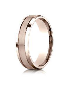 14k Rose Gold 6mm Comfort-Fit Satin-Finished High Polished Beveled Edge Carved Design Band