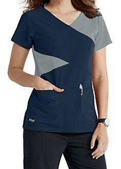 The Grey's Anatomy Signature mock wrap scrub top has detailed style lines and roomy pockets. Cute Scrubs Uniform, Spa Uniform, Scrubs Pattern, Stylish Scrubs, Suit Combinations, Greys Anatomy Scrubs, Medical Uniforms, Medical Scrubs, Workwear Fashion